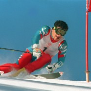Italian skier Alberto Tomba clears a gate during t