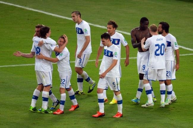 Gli Azzurri dopo la partita