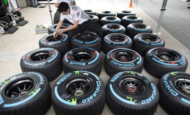 Le ruote Pirelli usate dalla Mercedes