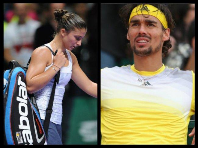 Sara Errani e Fabio Fognin, entrambi eliminati al primo turno a Wimbledon