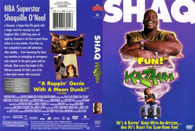 La copertina del film Kazaam, con Shaquille O'Neal protagonista