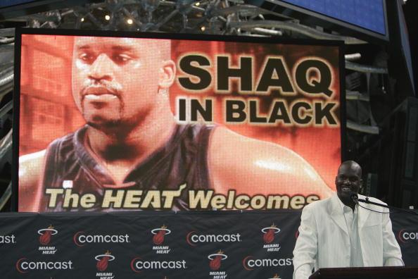 Shaquille O'Neal alla presentazione ai Miami Heat, 2008
