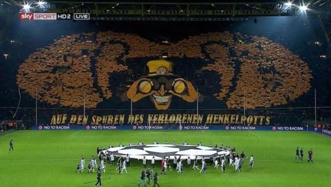 L'incredibile coreografia dei tifosi del Borussia esposta quest'anno in Champions League
