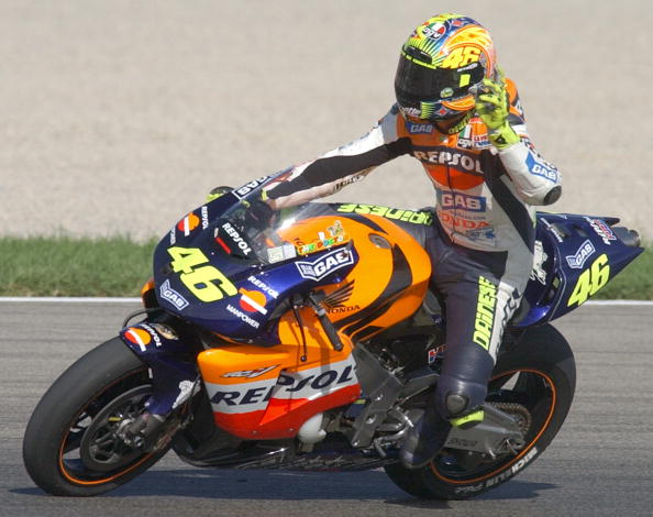 Italy's Valentino Rossi waves at the end of the Mo