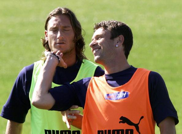 Totti e Cassano durante la spedizione europea del 2004