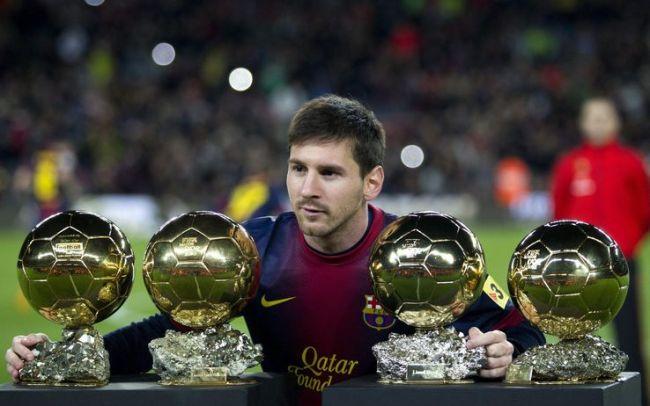 Messi con i 4 palloni d'oro