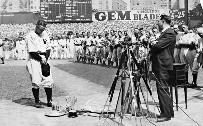 Lou Gehrig durante il suo discorso d'addio