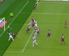 Il fuorigioco di Tevez in Torino-Juve, che ha portato al susseguente gol di Pogba